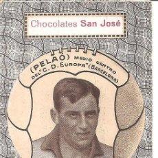 Cromos de Fútbol: PELAO - MEDIO CENTRO C.D. EUROPA (BARCELONA) - CHOCOLATES SAN JOSÉ - IGNACIO LLINARES VILLAJOYOSA. Lote 121022927