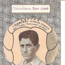 Cromos de Fútbol: CARIDE - INTERIOR DERECHA DEL REAL FORTUNA VIGO - CHOCOLATES SAN JOSÉ - IGNACIO LLINARES VILLAJOYOSA. Lote 121044119