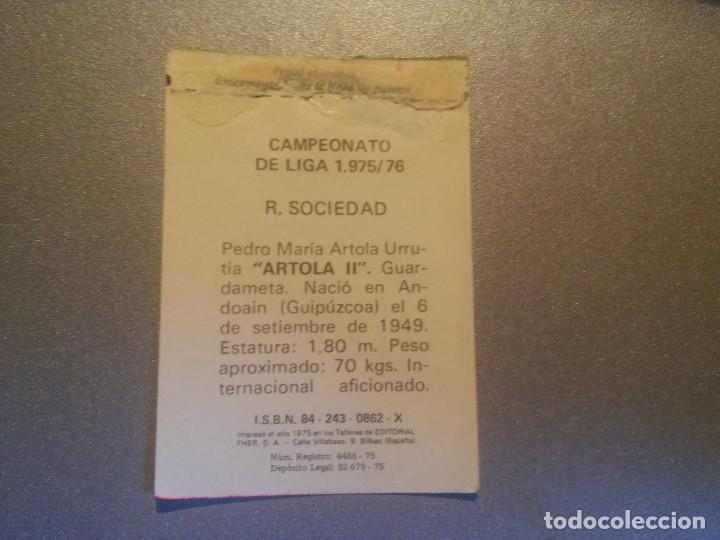 Cromos de Fútbol: EDITORIAL FHER 1975 1976 - 75 76 - ARTOLA II - REAL SOCIEDAD - Foto 2 - 127479199