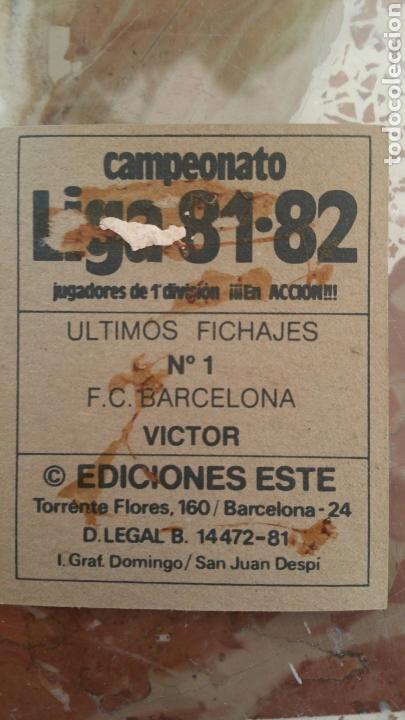 Cromos de Fútbol: Este 81 82 Víctor (BAR) (UF 1) (versión con público) despegado - Foto 2 - 131512547
