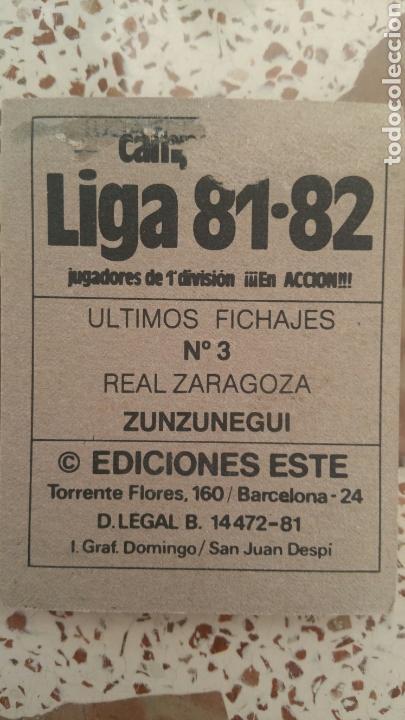Cromos de Fútbol: Este 81 82 Zunzunegui (ZAR) (UF 3) (versión con público) despegado - Foto 2 - 131513142