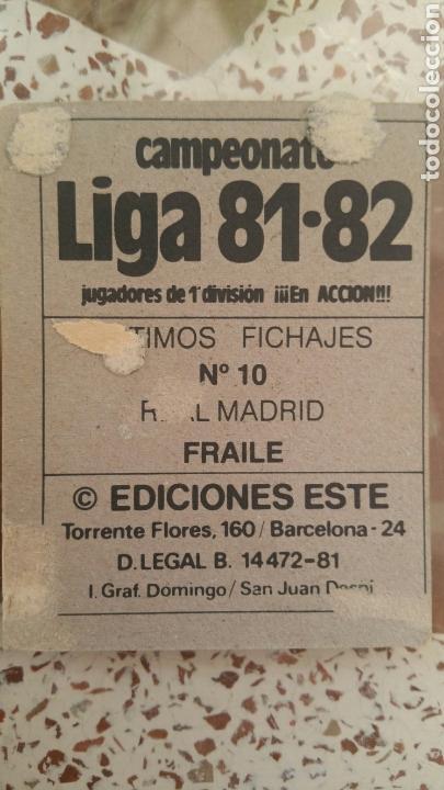 Cromos de Fútbol: Este 81 82 Fraile (RMA) (UF 10 - Baja) despegado - Foto 2 - 131514306