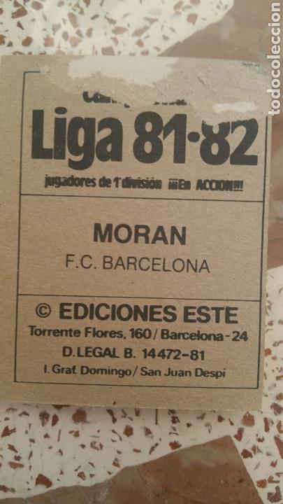 Cromos de Fútbol: Este 81 82 Morán (BAR) (Básico) (versión gradas vacías) despegado - Foto 2 - 131516014