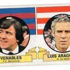 Cromos de Fútbol: LIGA 85/86. ENTRENADORES. VENABLES. LUIS ARAGONES. EDICIONES ESTE. DESPEGADO POR ARRIBA.. Lote 131690630