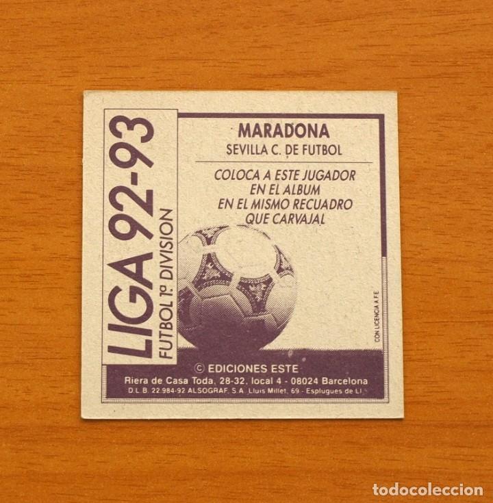 Cromos de Fútbol: Sevilla - Maradona - Coloca - Ediciones Este - Liga 1992-1993, 92-93 - nunca pegado - Foto 2 - 24372142