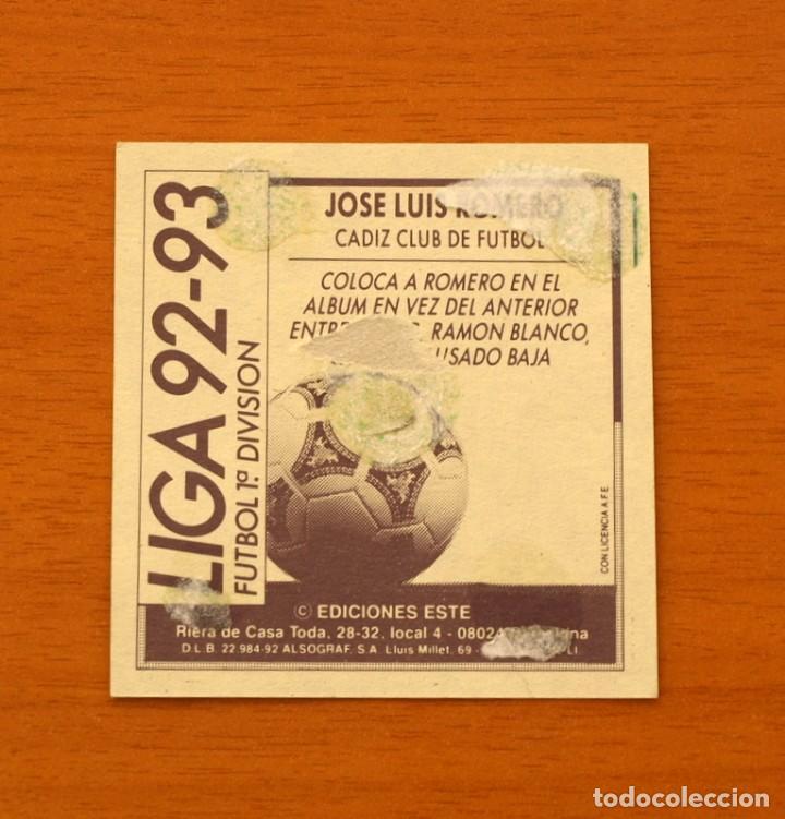 Cromos de Fútbol: Cádiz - José Luis Romero, Entrenador - Coloca - Ediciones Este - Liga 1992-1993, 92-93 - Foto 2 - 132452166