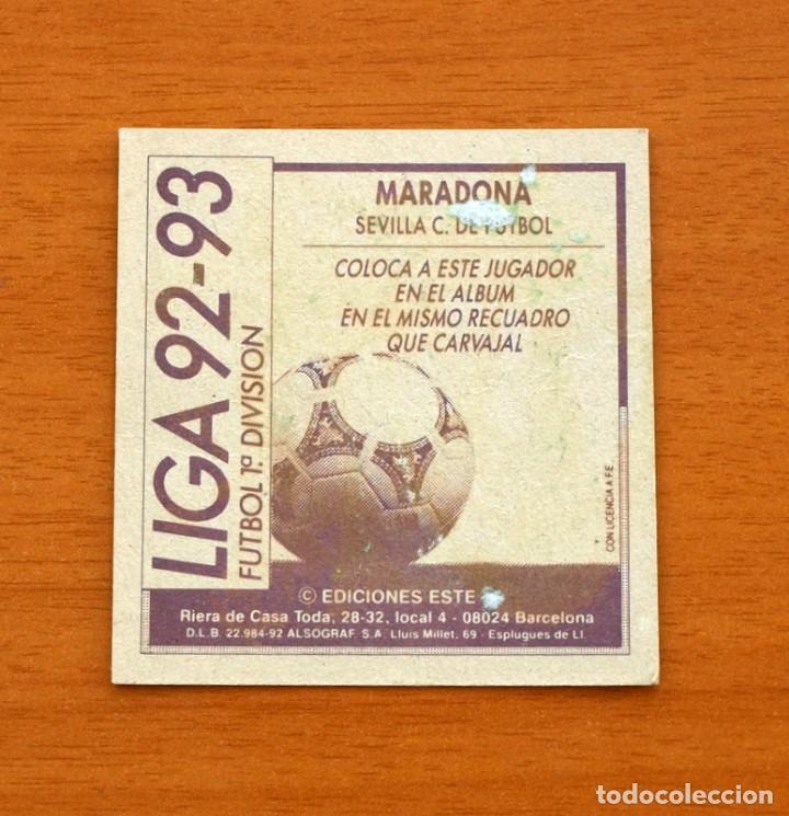 Cromos de Fútbol: Sevilla - Maradona - Coloca - Ediciones Este - Liga 1992-1993, 92-93 - Foto 2 - 132664898