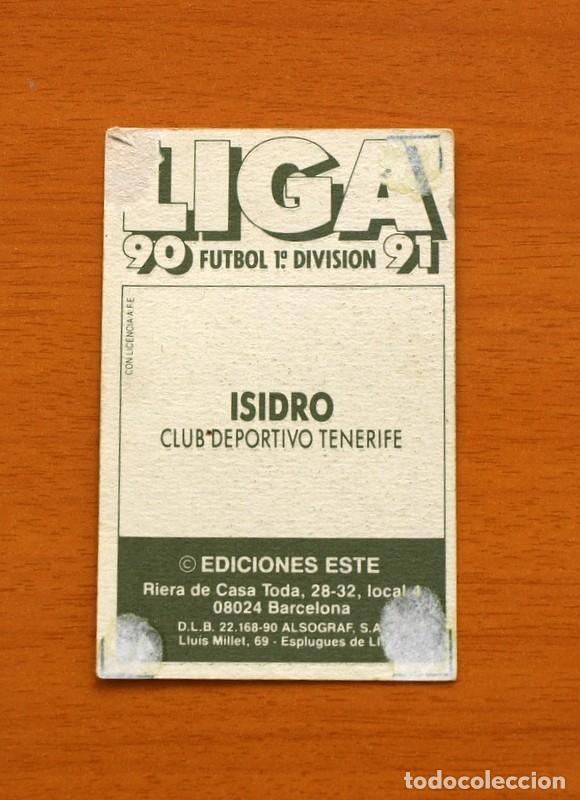 Cromos de Fútbol: Tenerife - Isidro - Liga 1990-1991, 90-91 - Ediciones Este - Foto 2 - 133693158