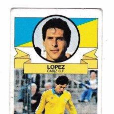 Cromos de Fútbol: CROMO LOPEZ CADIZ BAJA EDICIONES ESTE 85/86 NUNCA PEGADO. Lote 135772714