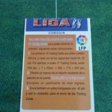 Cromos de Fútbol: BONO COMODIN CORREGIDO Y ERROR DE CORTE CROMOS ALBUM MUNDICROMO FICHAS FUTBOL LIGA 1995 1996 95 96. Lote 135885270