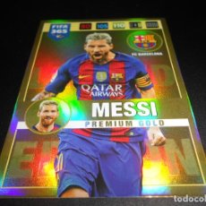 Cromos de Fútbol: LIONEL MESSI PREMIUM GOLD FC BARCELONA CARD CROMOS ADRENALYN XL FIFA 365 2016 2017 16 17. Lote 137173194