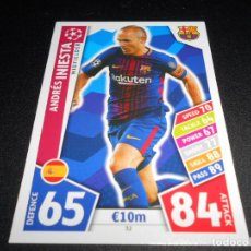 Cromos de Fútbol: 32 ANDRES INIESTA FC BARCELONA CROMOS CARDS CHAMPIONS LEAGUE TOPPS ATTAX 17 18 2017 2018. Lote 144258497