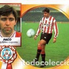 Cromos de Fútbol: LIGA 94/95. BAJAS. PACO. CLUB DEPORTIVO LOGROÑES. EDICIONES ESTE. NUEVO BUEN ESTADO.. Lote 140221594