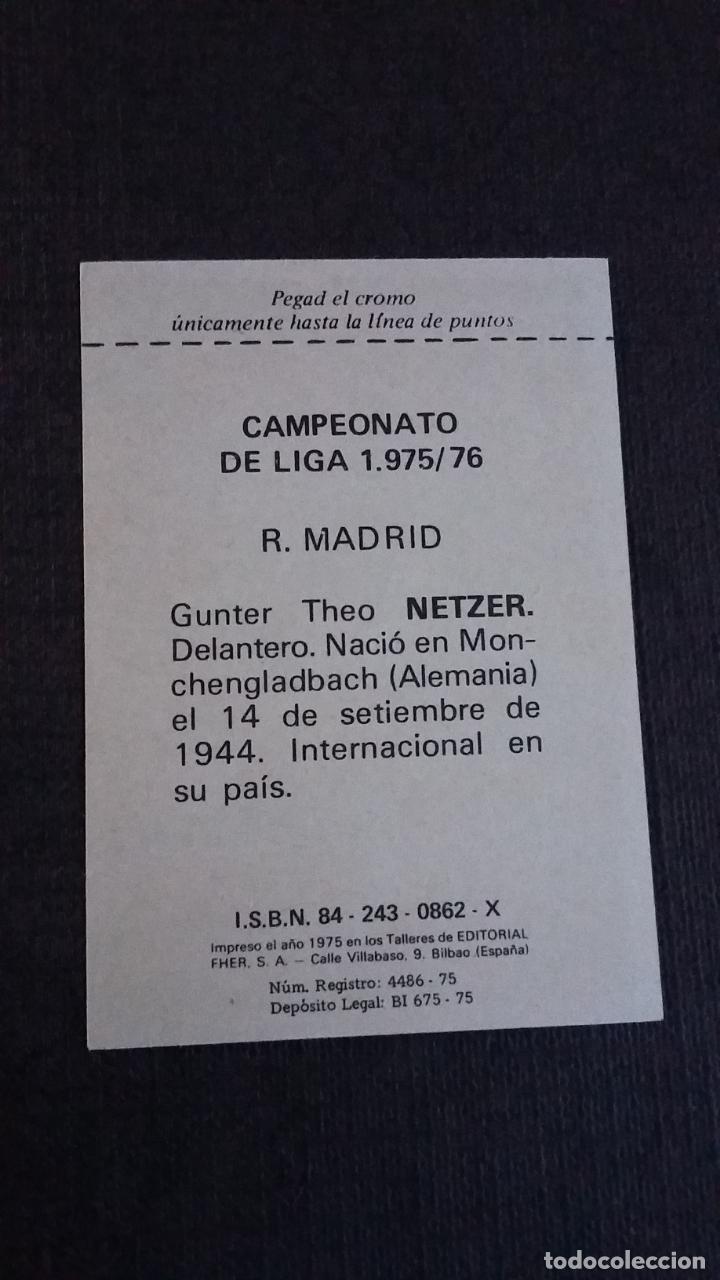 Cromos de Fútbol: DISGRA / FHER LIGA 75/76 1975 1976 - NETZER - REAL MADRID - ( NUNCA PEGADO ) - Foto 2 - 142968302