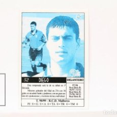 Cromos de Fútbol: FICHA LIGA 1999 / 2000 MUNDICROMO - Nº 52 DIEGO R.C.D. MALLORCA - ERROR EN LA IMPRESIÓN. Lote 146875322