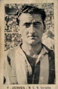 Cromo de futbol del ex jugador Lechuga del Deportivo de la coruña. Temporada 1952-1953