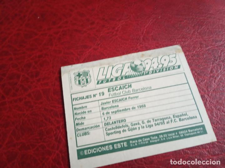 Cromos de Fútbol: ESCAICH COLOCA ED ESTE 94 95 CROMO FUTBOL LIGA 1994 1995 - VENTANILLA - 593 FICHAJE 19 - Foto 2 - 150974642