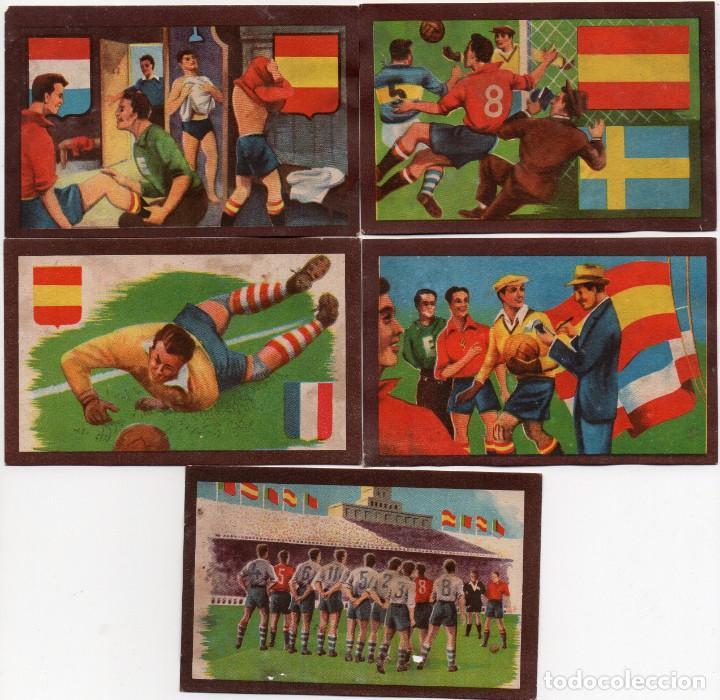 5 CROMOS DE LA SERIE PARTIDOS INTERNACIONALES 1950 (Coleccionismo Deportivo - Álbumes y Cromos de Deportes - Cromos de Fútbol)