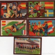 Cromos de Fútbol: 5 CROMOS DE LA SERIE PARTIDOS INTERNACIONALES 1950. Lote 156489766