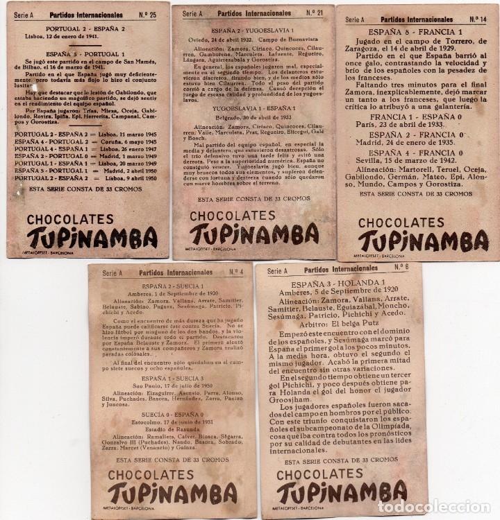 Cromos de Fútbol: 5 cromos de la serie partidos internacionales 1950 - Foto 2 - 156489766