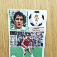 Cromos de Fútbol: ESTE LIGA 83 /84.. LÓPEZ.. REAL MURCIA.. ERROR CORREGIDO.. RECUPERADO... Lote 156568782