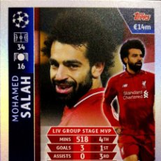 Cromos de Fútbol: SALAH - LIVERPOOL - GROUP STAGE MVP - ROAD TO MADRID - TOPPS CHAMPIONS LEAGUE MATCH ATTAX 18 19. Lote 157087994