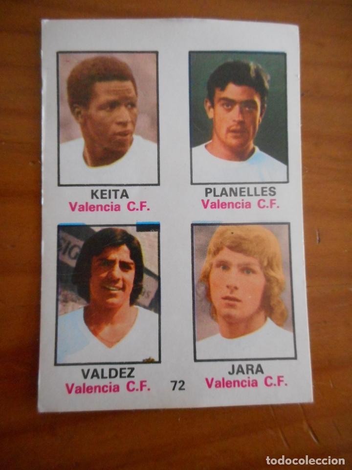 CAMPEONATO LIGA 1974/1975.(74-75). Nº 72. FHER. VALENCIA. KEITA, PLANELLES, VALDEZ, JARA. NUEVO (Coleccionismo Deportivo - Álbumes y Cromos de Deportes - Cromos de Fútbol)