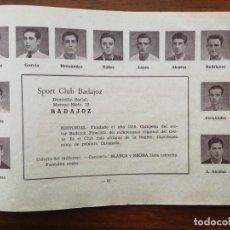 Cromos de Fútbol: SPORT CLUB BADAJOZ - TEMPORADA 34/35 1934/35 - HOJA DE LA GUÍA FUTBOLISTICA. Lote 159655058