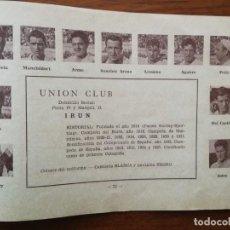 Cromos de Fútbol: ( REAL ) UNION CLUB DE IRÚN - TEMPORADA 34/35 1934/35 - HOJA DE LA GUÍA FUTBOLISTICA. Lote 159655286