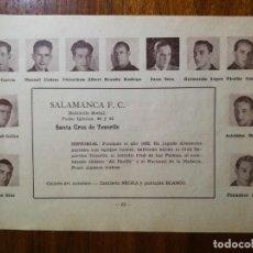 Cromos de Fútbol: SALAMANCA F. C. DE SANTA CRUZ DE TENERIFE - TEMPORADA 34/35 1934/35 - HOJA DE LA GUÍA FUTBOLISTICA. Lote 160597922