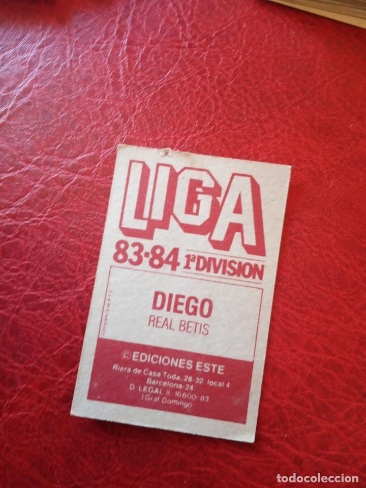 Cromos de Fútbol: DIEGO REAL BETIS ED ESTE 83 84 CROMO FUTBOL LIGA 1983 1984 - SIN PEGAR - 391 - Foto 2 - 161678834