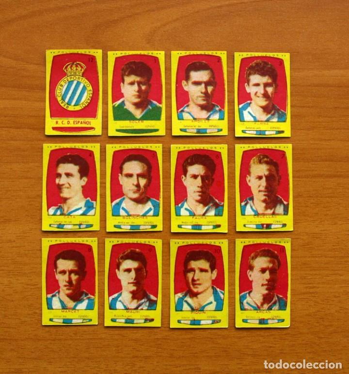 R.C.D. ESPAÑOL, ESPANYOL -EQUIPO COMPLETO-AZAFRÁN POLLUELOS 1954-1955, 54-55 - NOVELDA-NUNCA PEGADOS (Coleccionismo Deportivo - Álbumes y Cromos de Deportes - Cromos de Fútbol)
