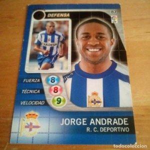87 Jorge Andrade. R.C. Deportivo. Derby Total 2005 2006 05 06 LFP El gran juego de fútbol de Panini