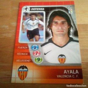 208 Ayala. Valencia C.F.. Derby Total 2005 2006 05 06 LFP El gran juego de fútbol de Panini