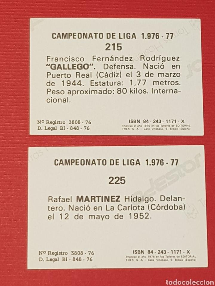Cromos de Fútbol: FHER 1976-1977 SEVILLA 2 CROMOS NUEVOS 215 GALLEGO 225 MARTINEZ 76-77 ADHESIVOS - Foto 2 - 165755594