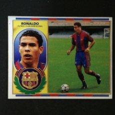 Cromos de Fútbol: RONALDO BARCELONA VERSION LIGA EDICIONES ESTE 1996 1997 96 97 VENTANILLA SUPERIOR. Lote 167129684