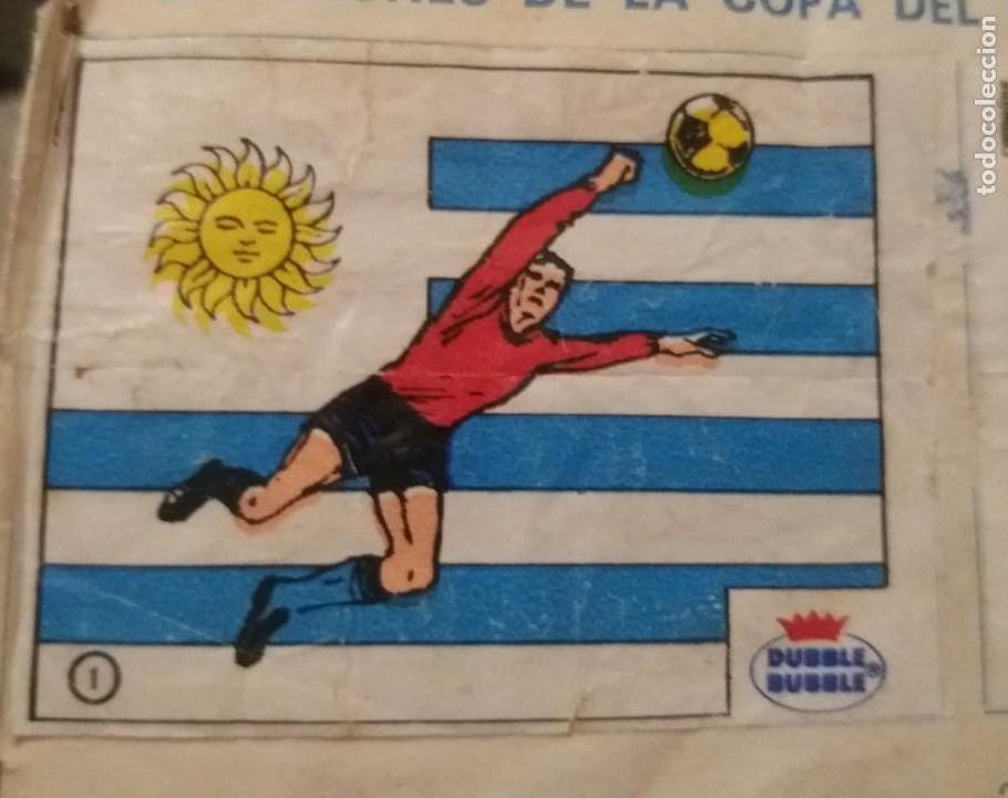 DUBBLE BUBBLE FUTBOL MUNDIAL CAMPEONES DE LA COPA DEL MUNDO URUGUAY 1930 1950 NÚMERO 1 RECORTADO (Coleccionismo Deportivo - Álbumes y Cromos de Deportes - Cromos de Fútbol)
