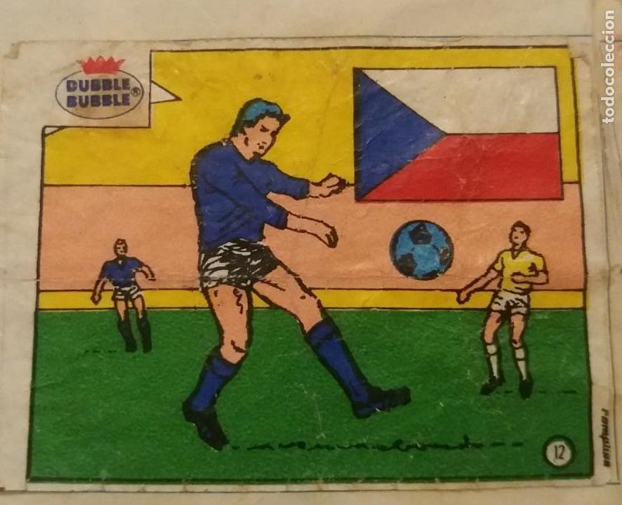 DUBBLE BUBBLE FUTBOL MUNDIAL CAMPEONES DE EUROPA SELECCIONES CHECOSLOVAQUIA 1976 NÚMERO 12 RECORTADO (Coleccionismo Deportivo - Álbumes y Cromos de Deportes - Cromos de Fútbol)