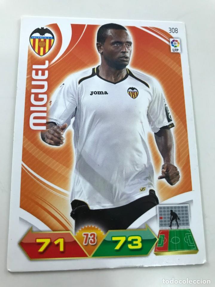 CROMO Nº308 MIGUEL - VALENCIA CF - ADRENALYN PANINI 2011 2012 (Coleccionismo Deportivo - Álbumes y Cromos de Deportes - Cromos de Fútbol)