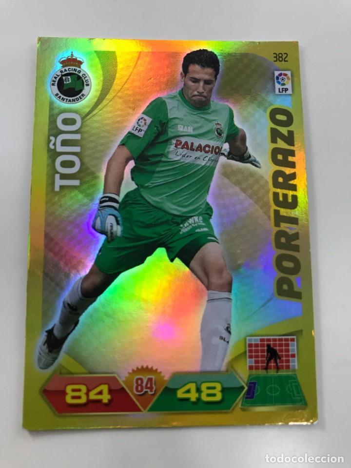 CROMO Nº382 PORTERAZO TOÑO - RACING DE SANTANDER - ADRENALYN PANINI 2011 2012 (Coleccionismo Deportivo - Álbumes y Cromos de Deportes - Cromos de Fútbol)