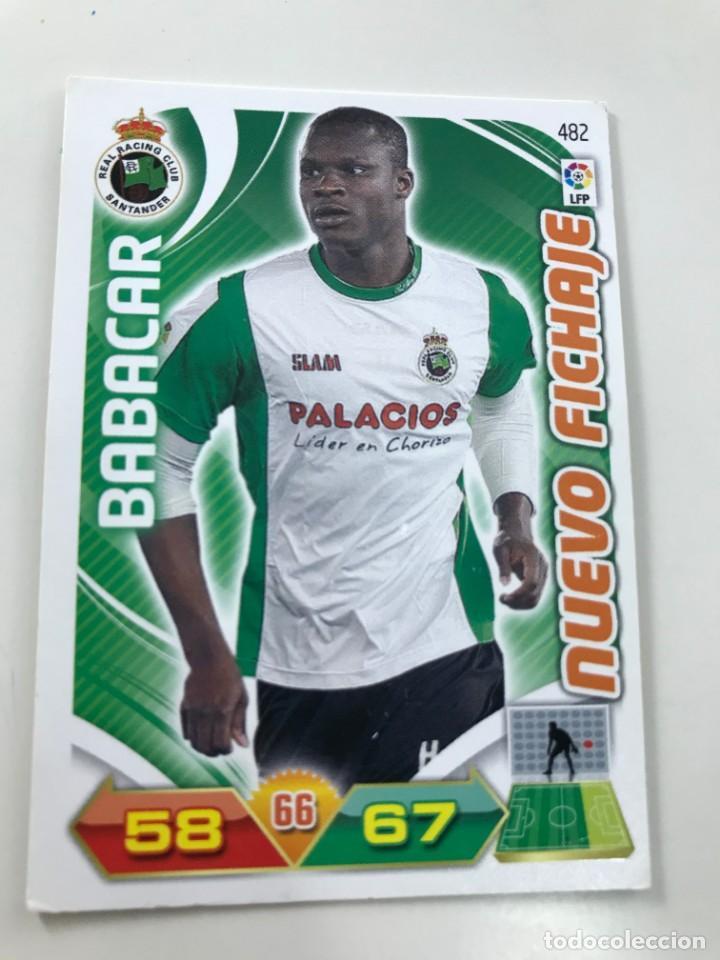 CROMO Nº482 NUEVO FICHAJE BABACAR - RACING DE SANTANDER - ADRENALYN PANINI 2011 2012 (Coleccionismo Deportivo - Álbumes y Cromos de Deportes - Cromos de Fútbol)