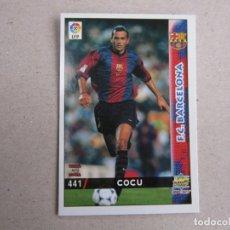 Cartes à collectionner de Football: MUNDICROMO FICHAS LIGA 98 99 ULTIMA HORA I UH Nº 441 COCU BARCELONA 1998 1999 NUEVO. Lote 170220741