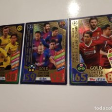 Cromos de Fútbol: 2017 2018 17 18 TOPPS MATCH ATTAX - 3 CARTAS -GOLD LIMITED EDITION PES ATTACK CARD . Lote 171554277