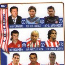 Cromos de Fútbol: ÍNDICE DEL ATLÉTICO DE MADRID - Nº 187 - LAS FICHAS DE LA LIGA 2005 - MUNDICROMO.. Lote 171794139