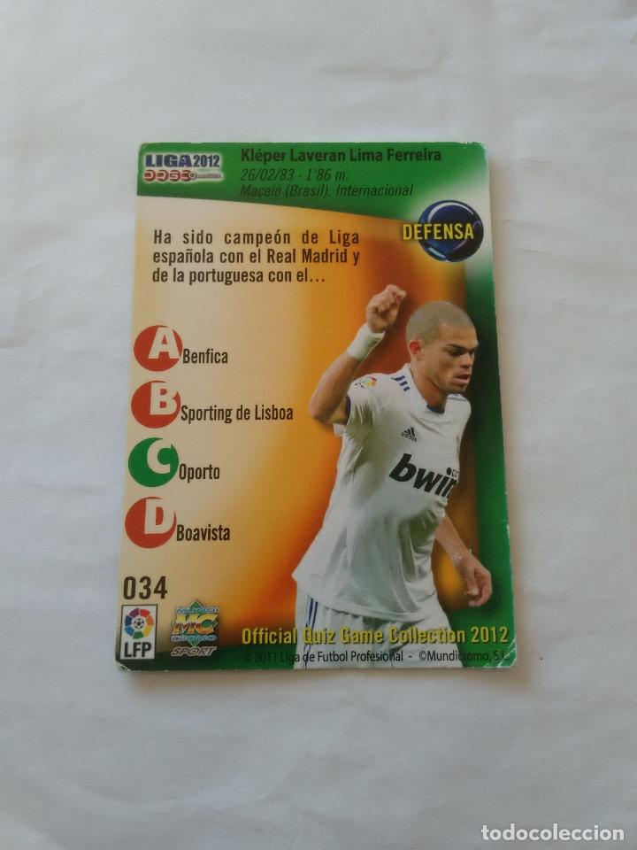 Cromos de Fútbol: ERROR CORREGIDO Nº 34 PEPE (REAL MADRID) - CROMO FÚTBOL FICHAS LIGA 11-12 MUNDICROMO 2011-2012 - Foto 2 - 173751912