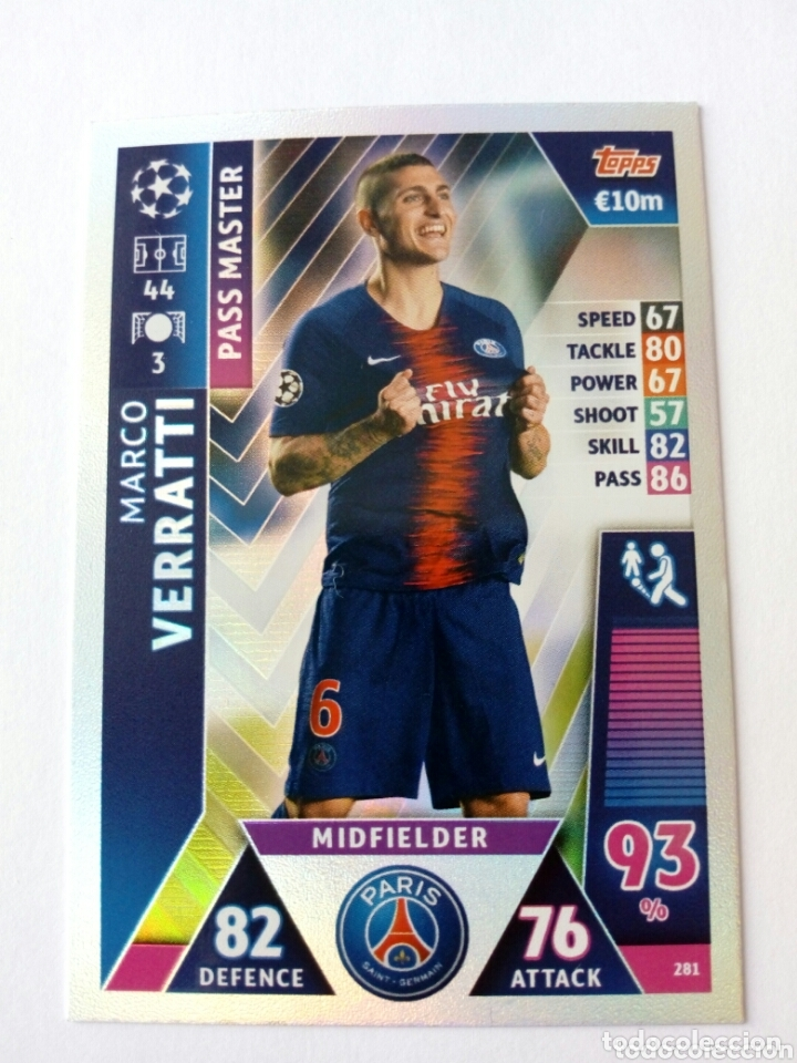 Cromos de Fútbol: Verratti champions league 18 19 paris pass master - Foto 1 - 173803809