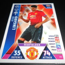 Cromos de Fútbol: 171 JESSE LINGARD MANCHESTER UNITED CARDS CROMOS CHAMPIONS LEAGUE TOPPS ATTAX 18 19 2018 2019. Lote 176217688