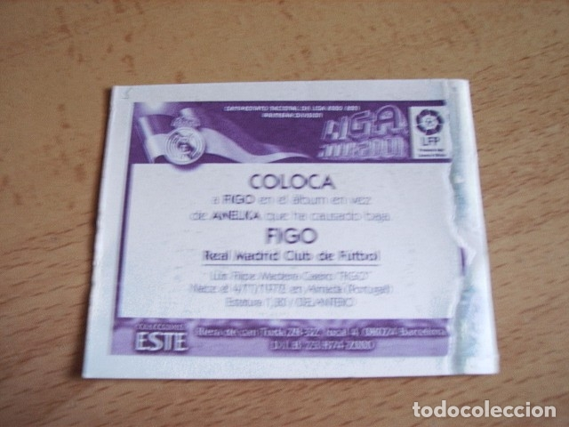 Cromos de Fútbol: ESTE 00-01 COLOCA FIGO R.MADRID VENTANILLA - Foto 2 - 176217802