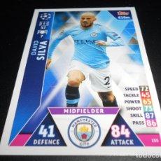 Cromos de Fútbol: 155 DAVID SILVA MANCHESTER CITY CARDS CHAMPIONS LEAGUE TOPPS ATTAX 18 19 2018 2019. Lote 176262689