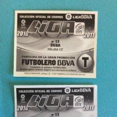 Cromos de Fútbol: LIGA ESTE -2010-2011 - MALAGA - DUDA - Nº 13 - ERROR EN TRASERA SE MANDAN LOS DOS MUY DIFICIL. Lote 178033868